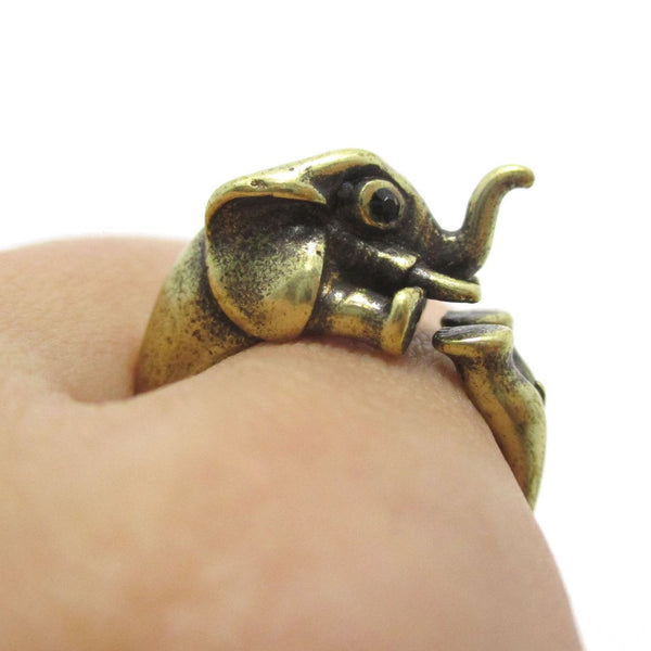 3D Elephant Shaped Animal Hug Ring in Brass | DOTOLY