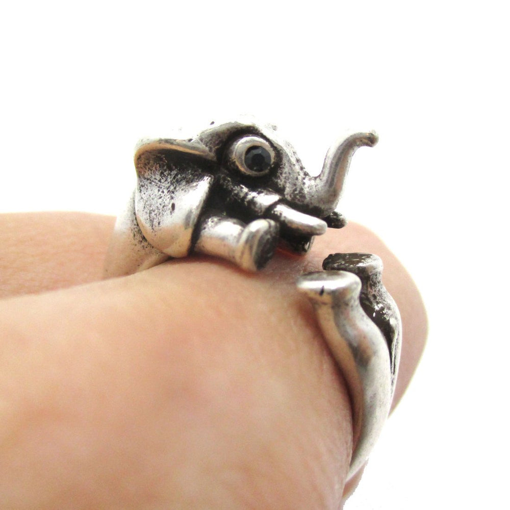 3D Elephant Shaped Animal Hug Ring in Silver | US Sizes 6 to 8 | DOTOLY