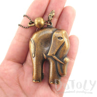 3D Elephant Shaped Pendant Necklace in Brass | Animal Jewelry