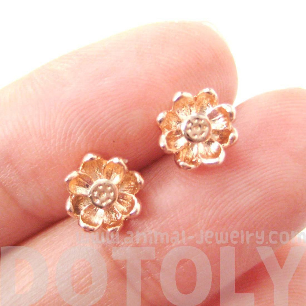 Floral Flower Shaped Stud Earrings in Rose Gold with Textured Detail