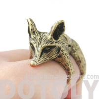 3D Fox Wolf Shaped Animal Wrap Armor Knuckle Joint Ring in Brass | Size 5 to 9