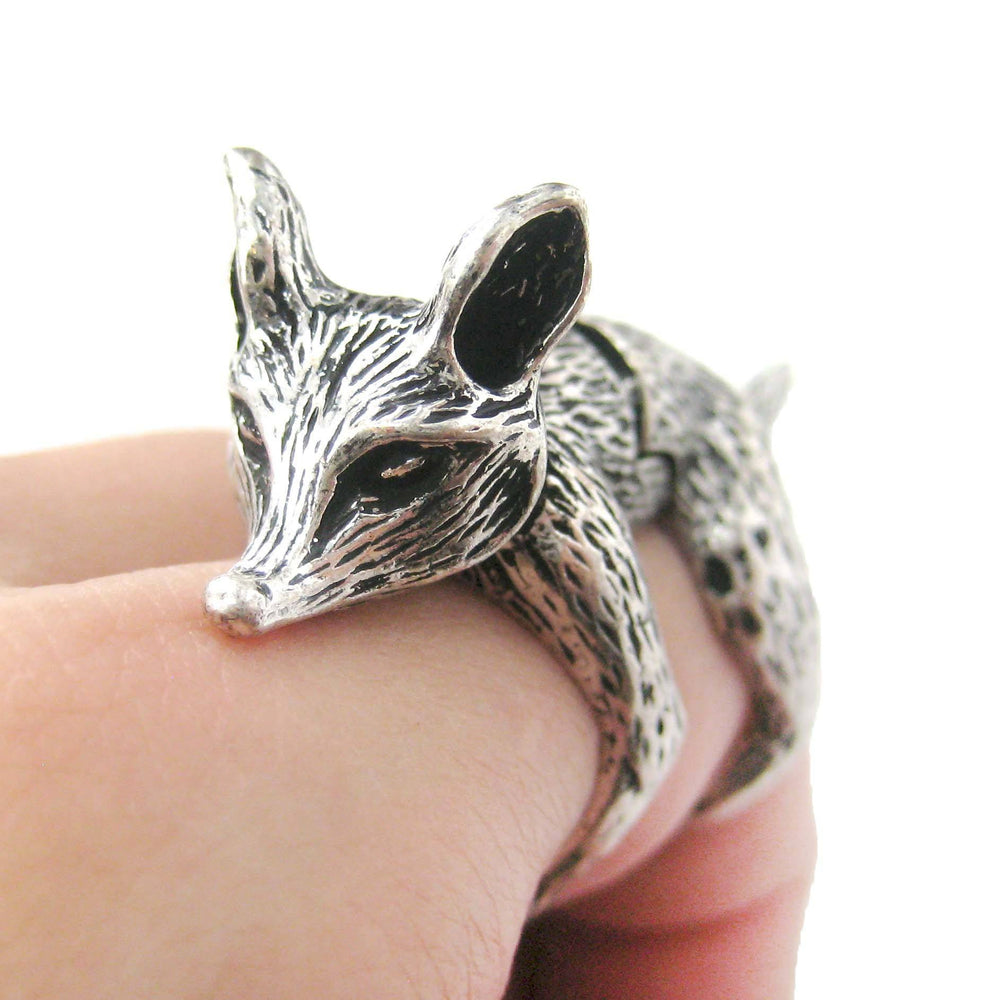 3D Fox Wolf Shaped Animal Knuckle Joint Ring in Silver | Size 5 to 9
