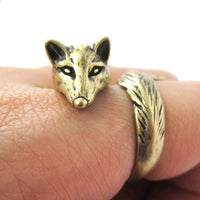 Fox Wrapped Around Your Finger Shaped Animal Ring in Brass