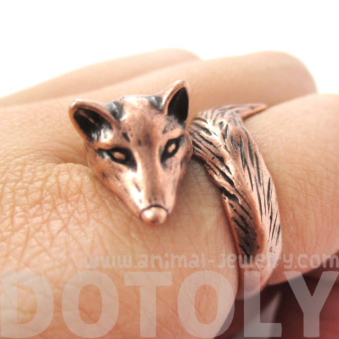 Fox Wrapped Around Your Finger Shaped Animal Ring in Copper