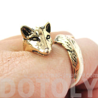3D Realistic Fox Shaped Animal Wrap Ring in Shiny Gold