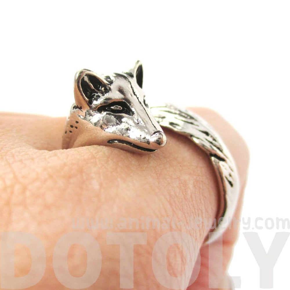 Realistic Fox Shaped Animal Wrap Ring in Shiny Silver