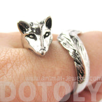3D Fox Wrapped Around Your Finger Shaped Animal Ring in Shiny Silver | US Size 5 to 9 | DOTOLY