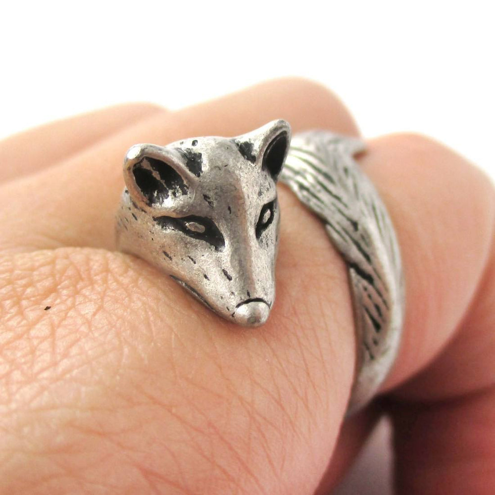 Fox Wrapped Around Your Finger Shaped Animal Ring in Silver