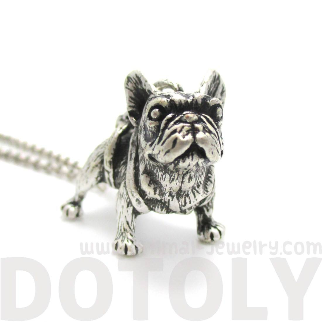 3D French Bulldog Puppy Dog Shaped Pendant Necklace