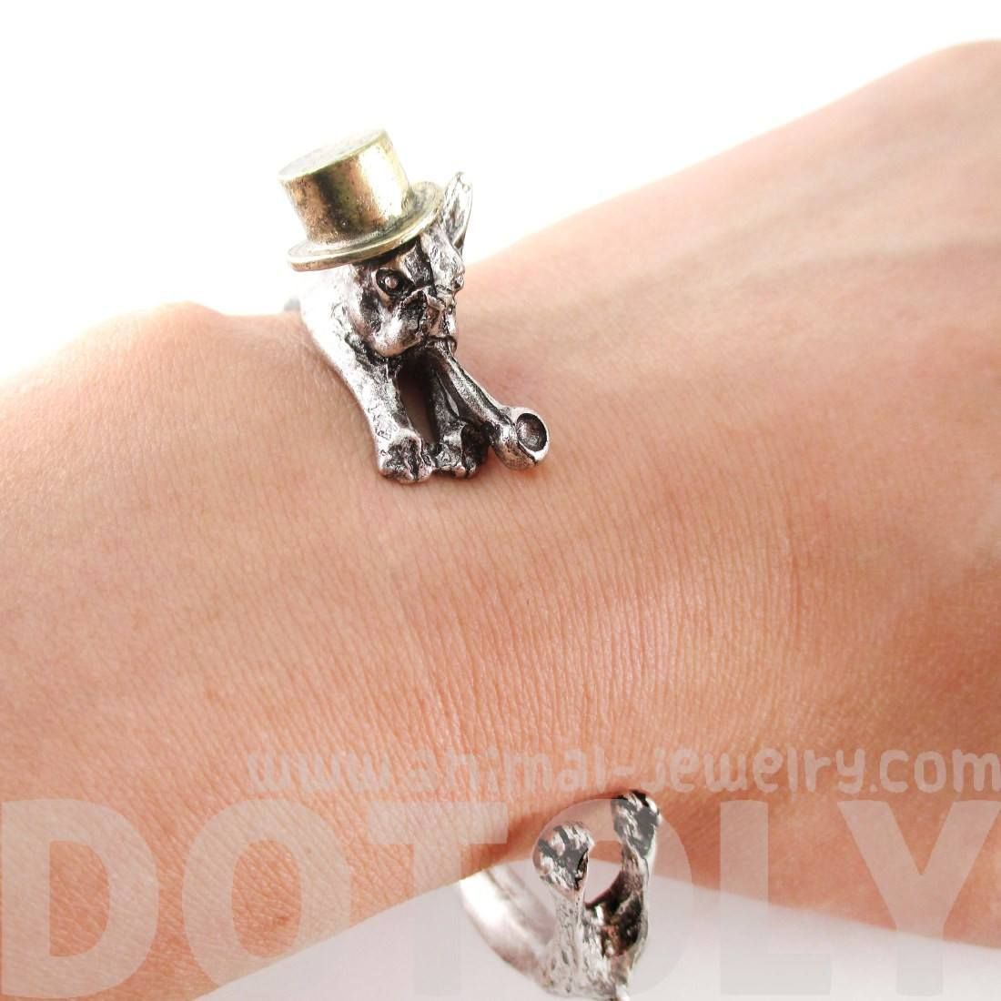 French Bulldog Wrapped Around Your Wrist Shaped Bangle