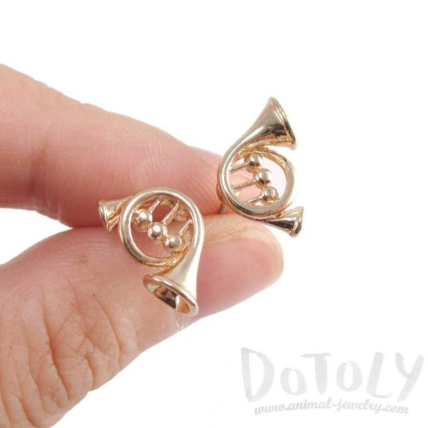 French Horn Shaped Music Themed Stud Earrings in Gold