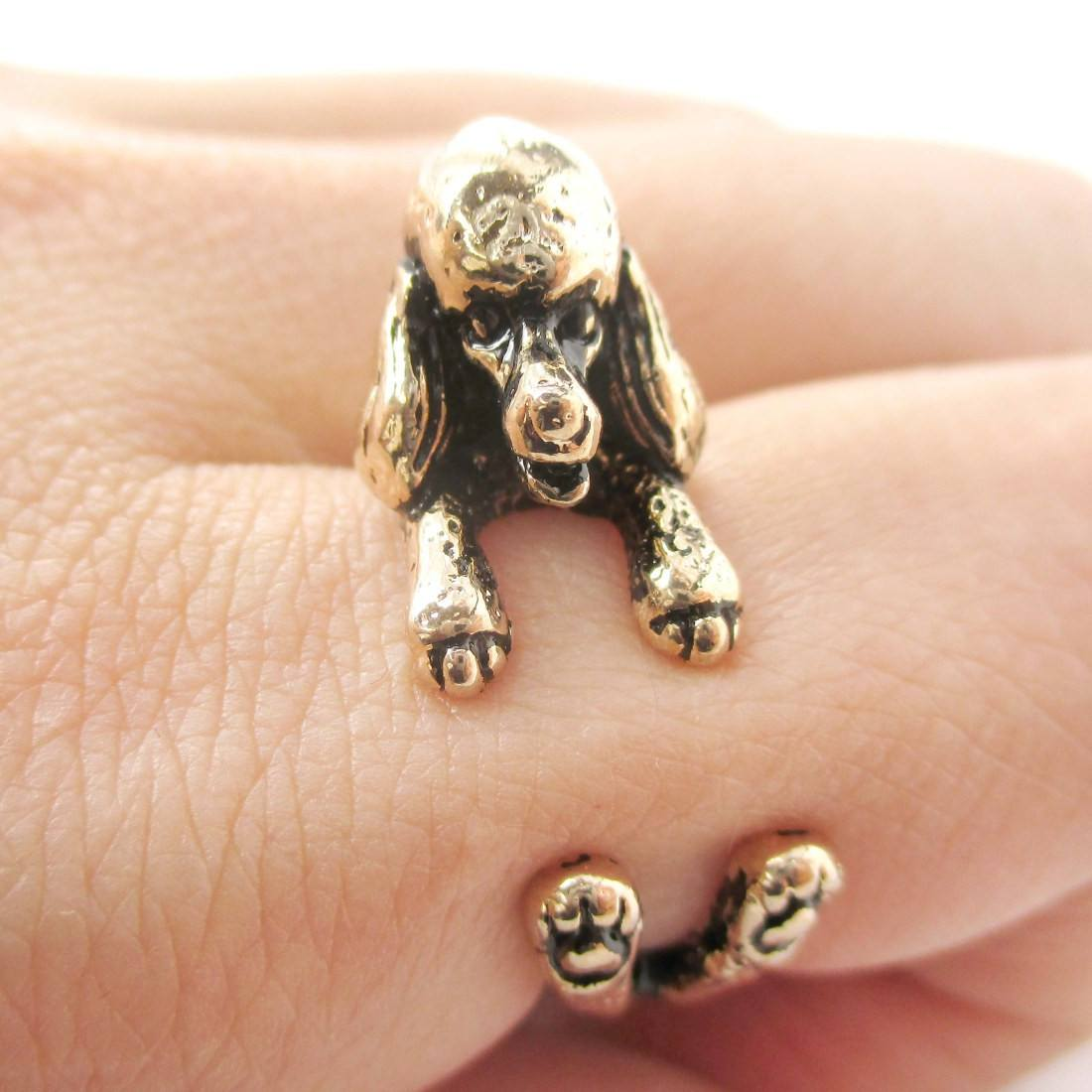 3D French Poodle Shaped Animal Wrap Ring in Shiny Gold