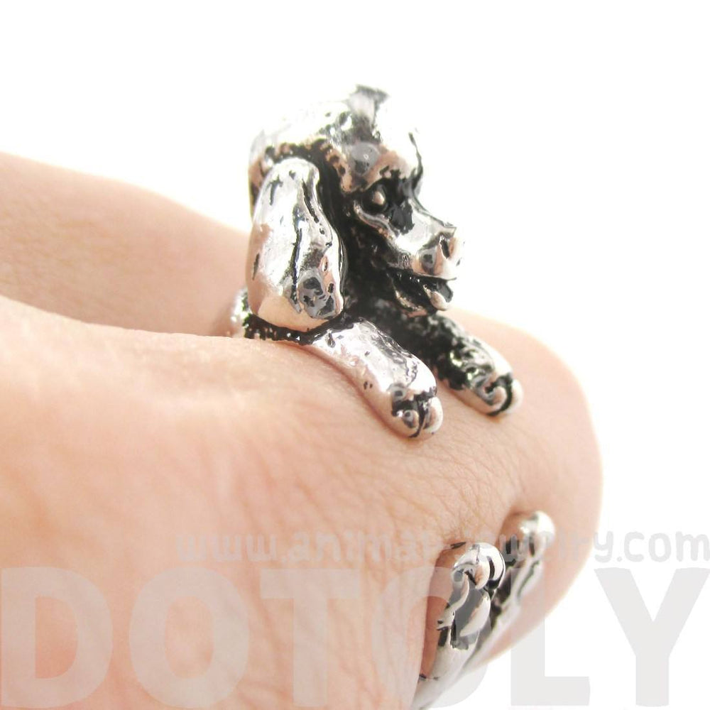3D French Poodle Shaped Animal Wrap Ring in Shiny Silver