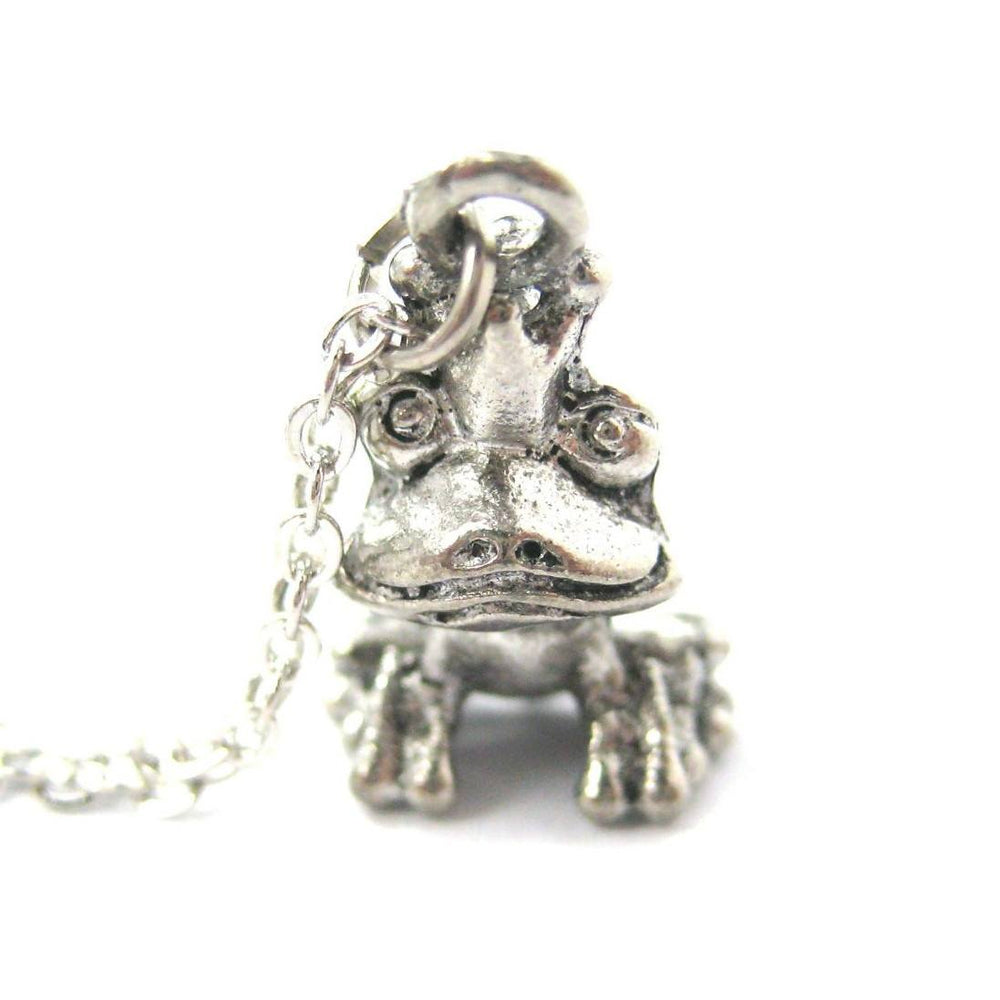3D Frog Prince Shaped Animal Charm Necklace in Silver | Made in The USA