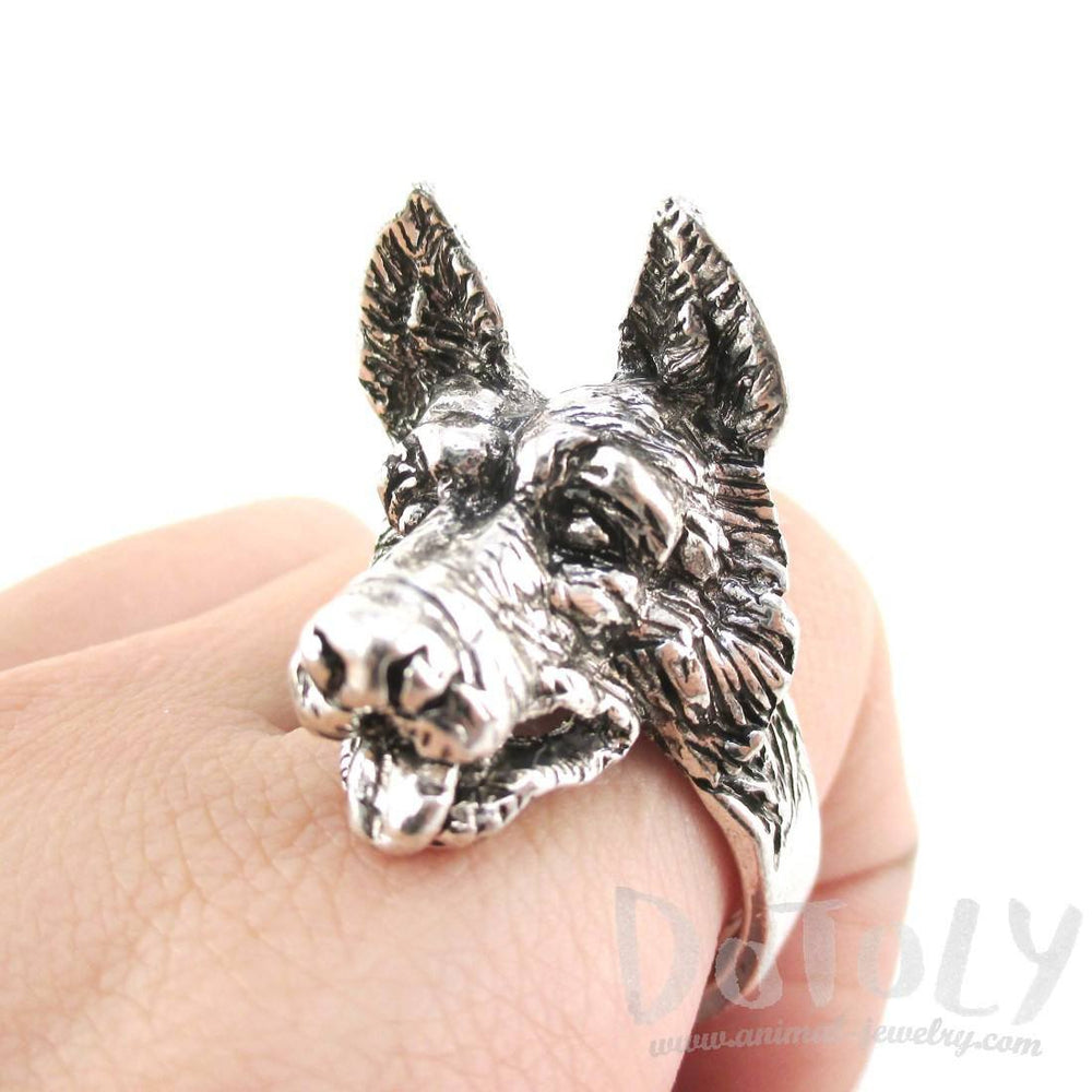 3D German Shepherd Head Shaped Animal Ring in Silver