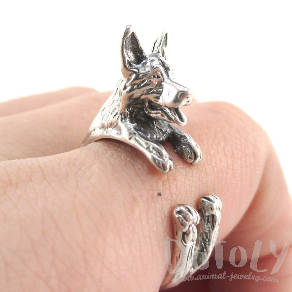 German Shepherd Shaped Animal Ring in Sterling Silver