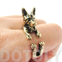 German Shepherd Shaped Animal Wrap Ring in Shiny Gold