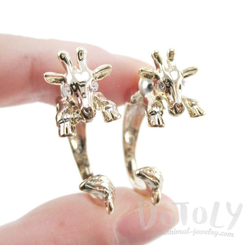 3D Giraffe Shaped Front and Back Stud Earrings in Gold