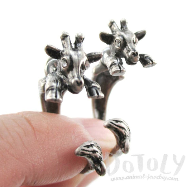 3D Giraffe Shaped Front and Back Two Part Stud Earrings in Silver