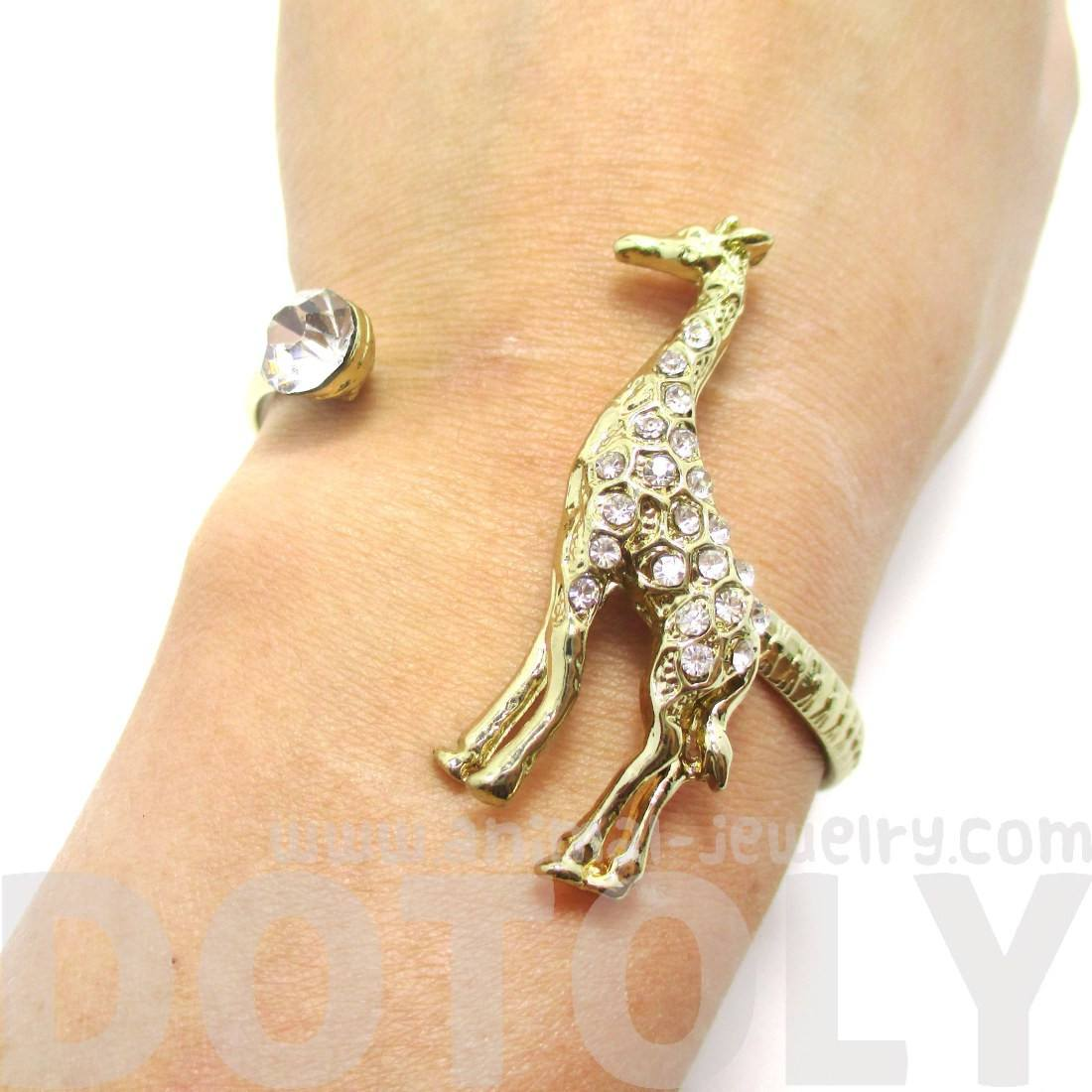 Giraffe Around Your Wrist Bangle Cuff Bracelet in Gold