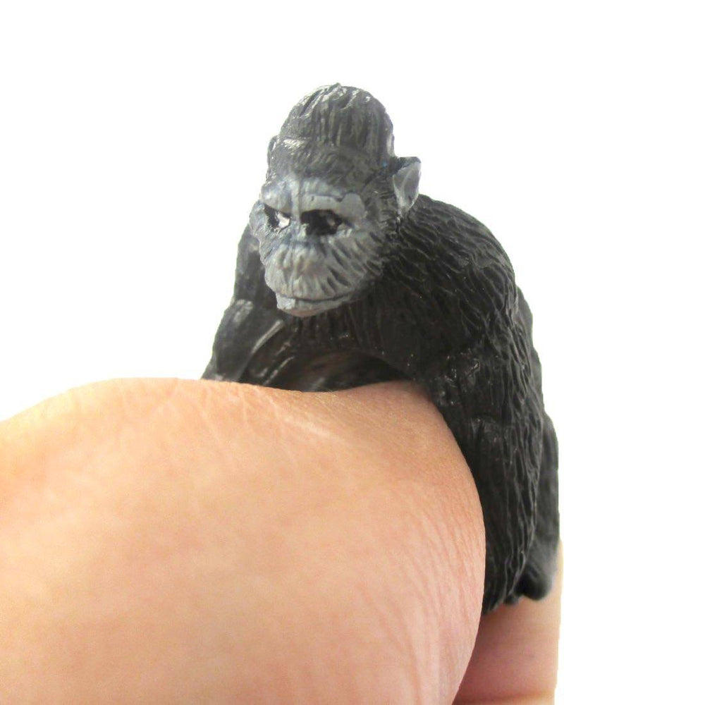 3D Adjustable Gorilla Ape Figurine Shaped Animal Wrap Ring for Kids