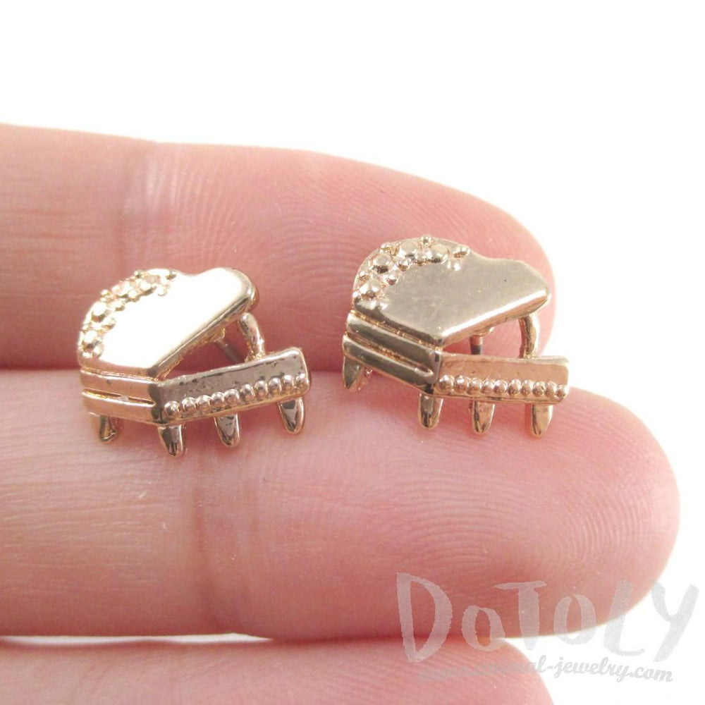 Grand Piano Shaped Music Themed Stud Earrings in Gold