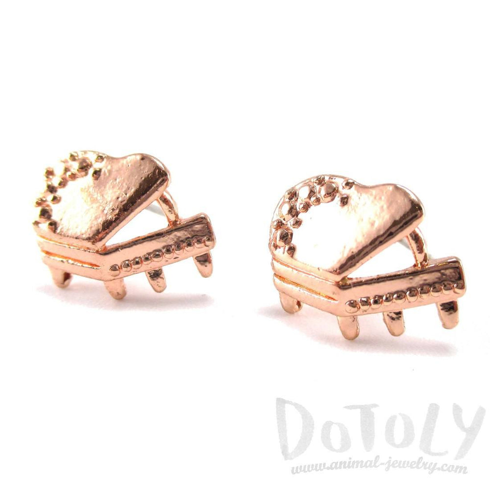 3D Grand Piano Shaped Music Themed Stud Earrings in Rose Gold | DOTOLY | DOTOLY