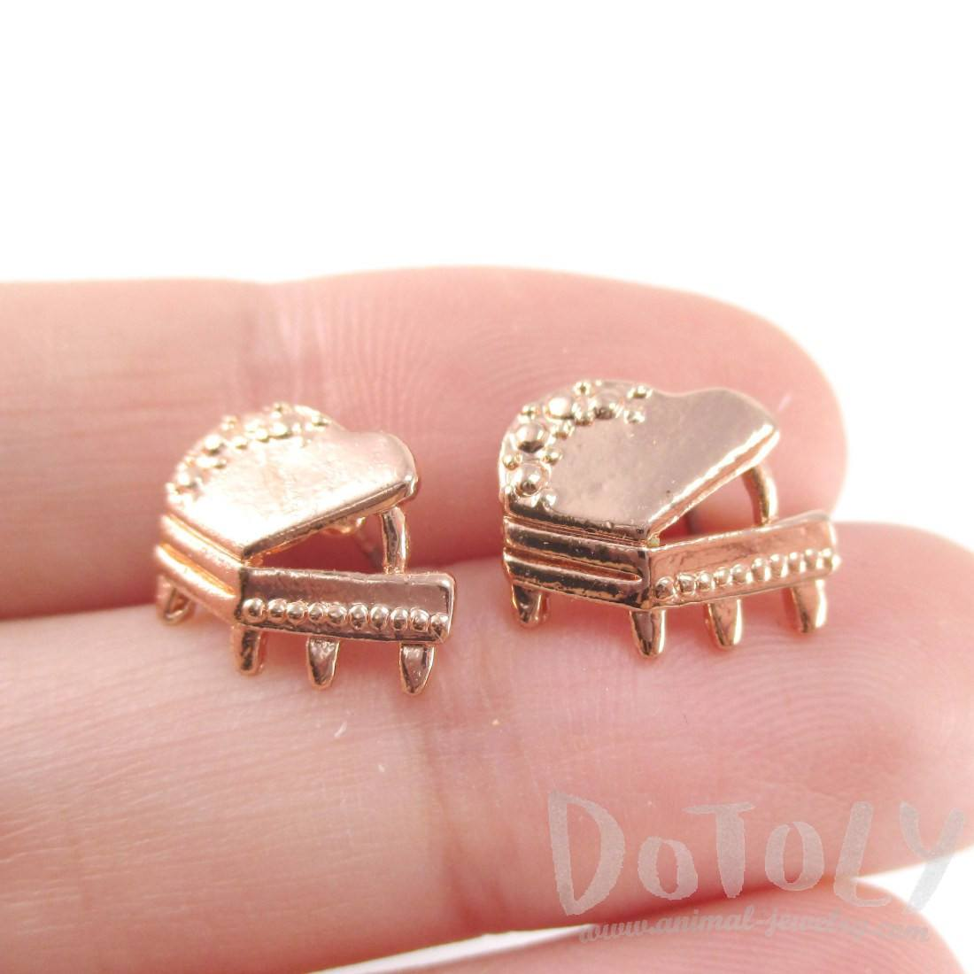 3D Piano Shaped Music Themed Stud Earrings in Rose Gold