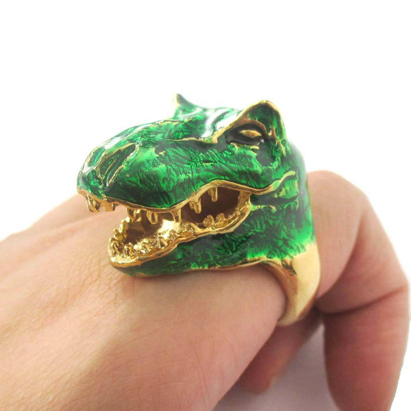 3D Green Dinosaur T-Rex Shaped Enamel Animal Ring in US Size 6 to 8