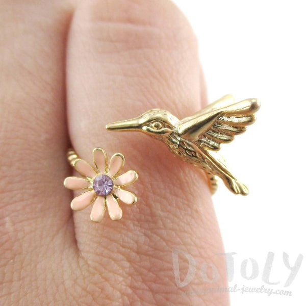 3D Hummingbird and Flower Wrap Adjustable Ring in Gold