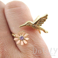 3D Hummingbird and Flower Wrap Around Adjustable Ring in Gold | DOTOLY