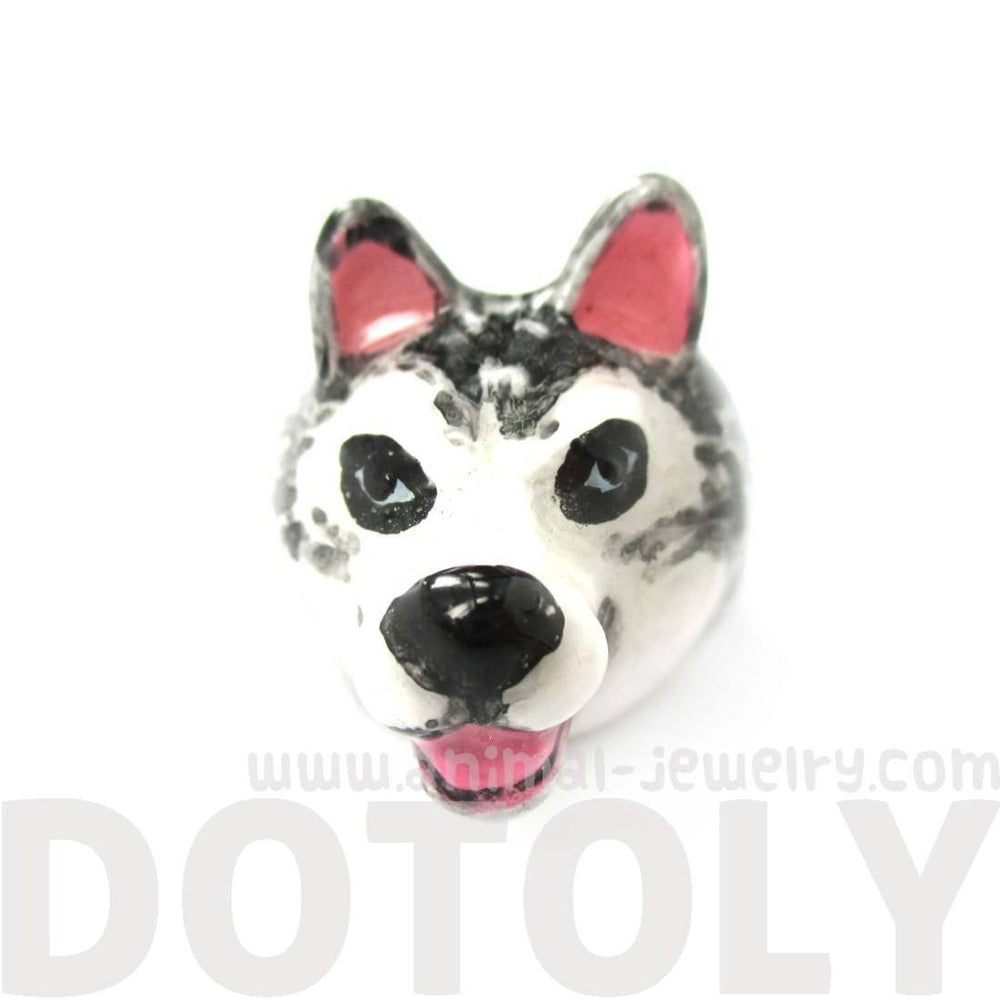 3D Husky Dog Face Shaped Enamel Animal Ring in US Size 7 and 8 | Limited Edition | DOTOLY