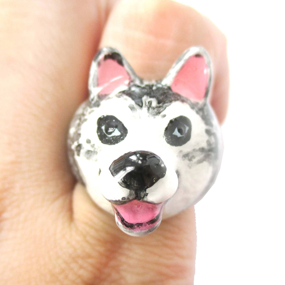 3D Husky Dog Face Shaped Enamel Animal Ring in US Size 7 and 8