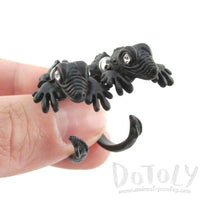 3D Iguana Lizard Shaped Front and Back Two Part Stud Earrings in Black | DOTOLY