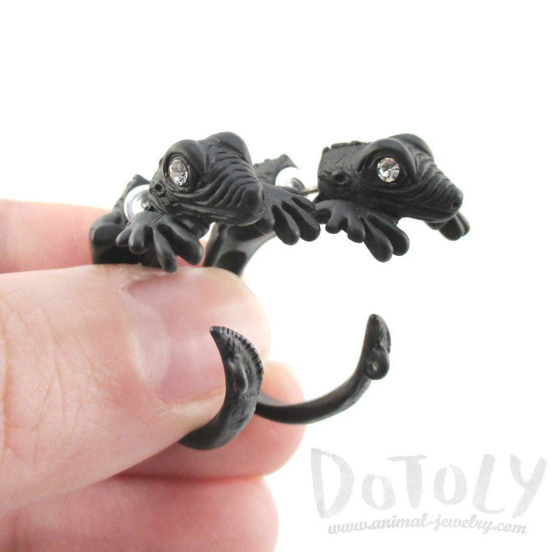 3D Iguana Shaped Front and Back Stud Earrings in Black