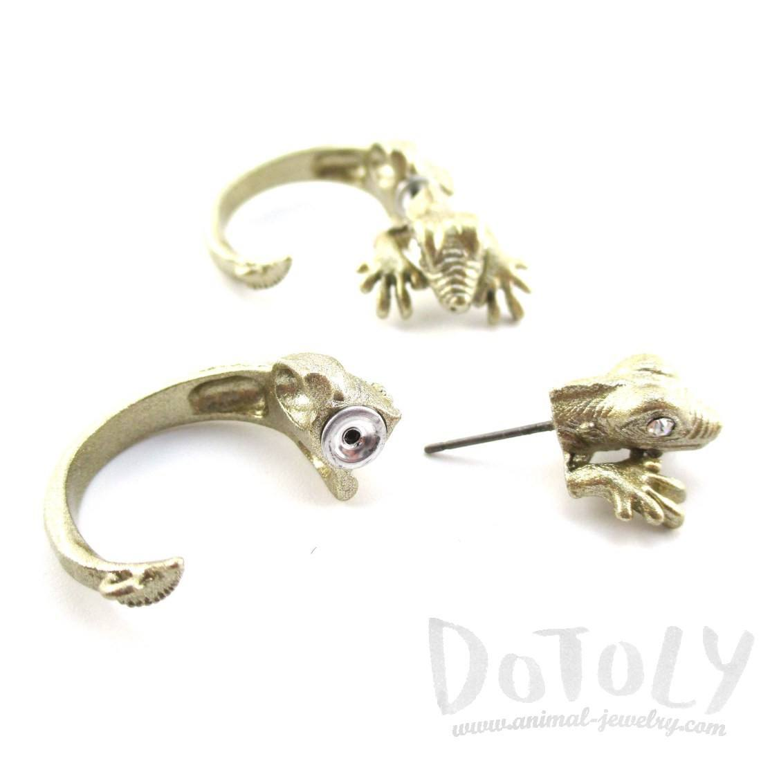3D Iguana Shaped Front and Back Stud Earrings in Gold