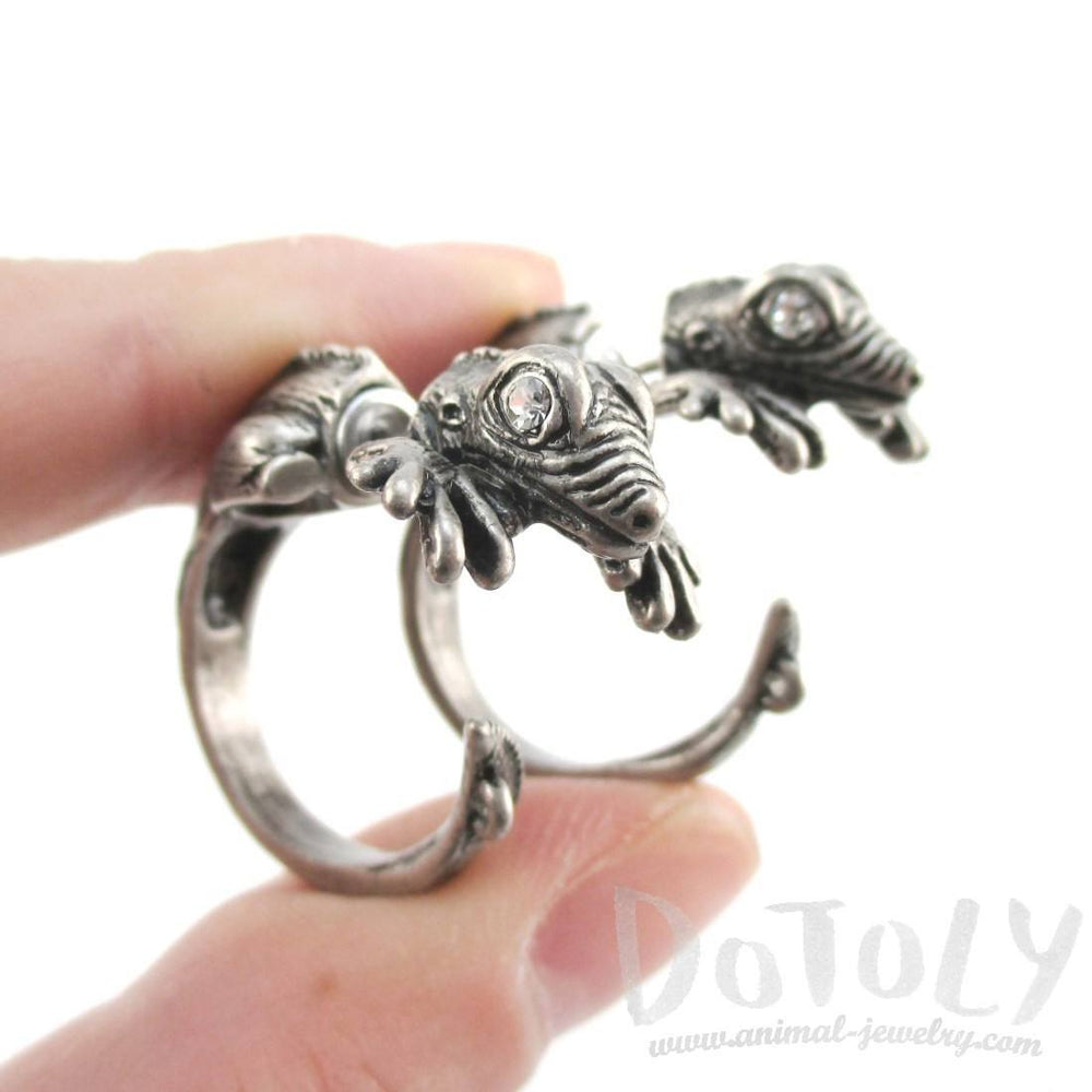 3D Iguana Shaped Front and Back Stud Earrings in Silver