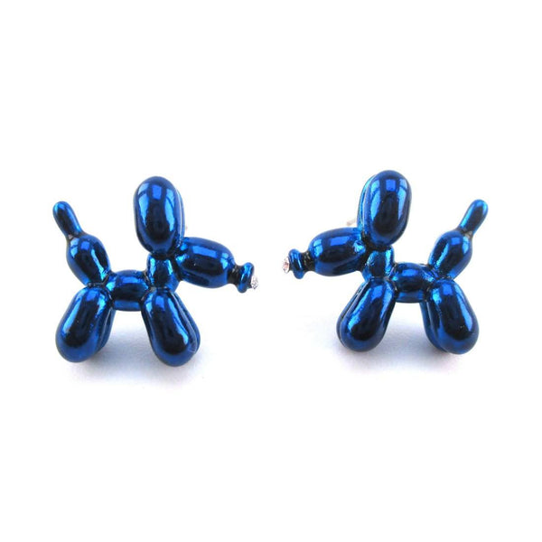 3D Jeff Koons Balloon Dog Shaped Stud Earrings in Bright Blue | DOTOLY