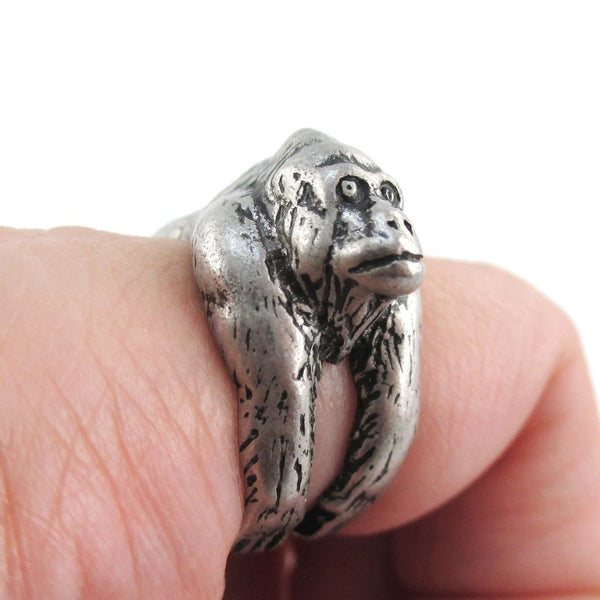 3D King Kong Gorilla Ape Wrapped Around Your Finger Ring in Silver