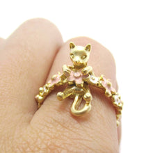 3D Kitty Cat Shaped Animal Floral Daisy Ring in Gold