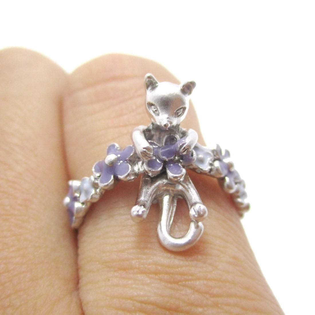3D Kitty Cat Shaped Animal Floral Daisy Ring in Silver