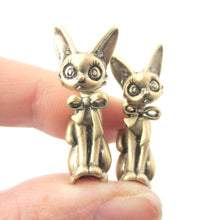 3D Kitty Cat Shaped Two Part Front and Back Dangle Earrings in Brass