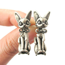 3D Kitty Cat Shaped Two Part Front and Back Dangle Earrings in Silver