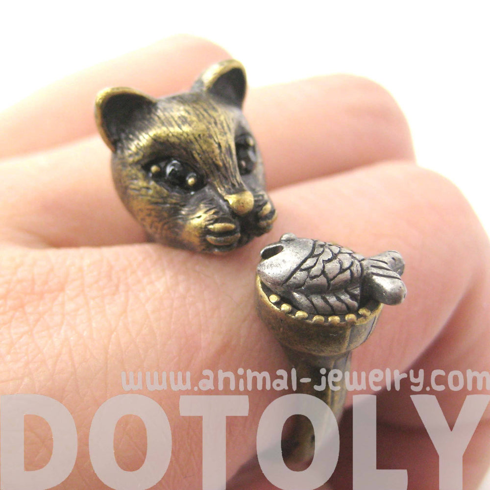 3D Kitty Cat with Fish Animal Wrap Ring in Brass | US Sizes 7 to 11