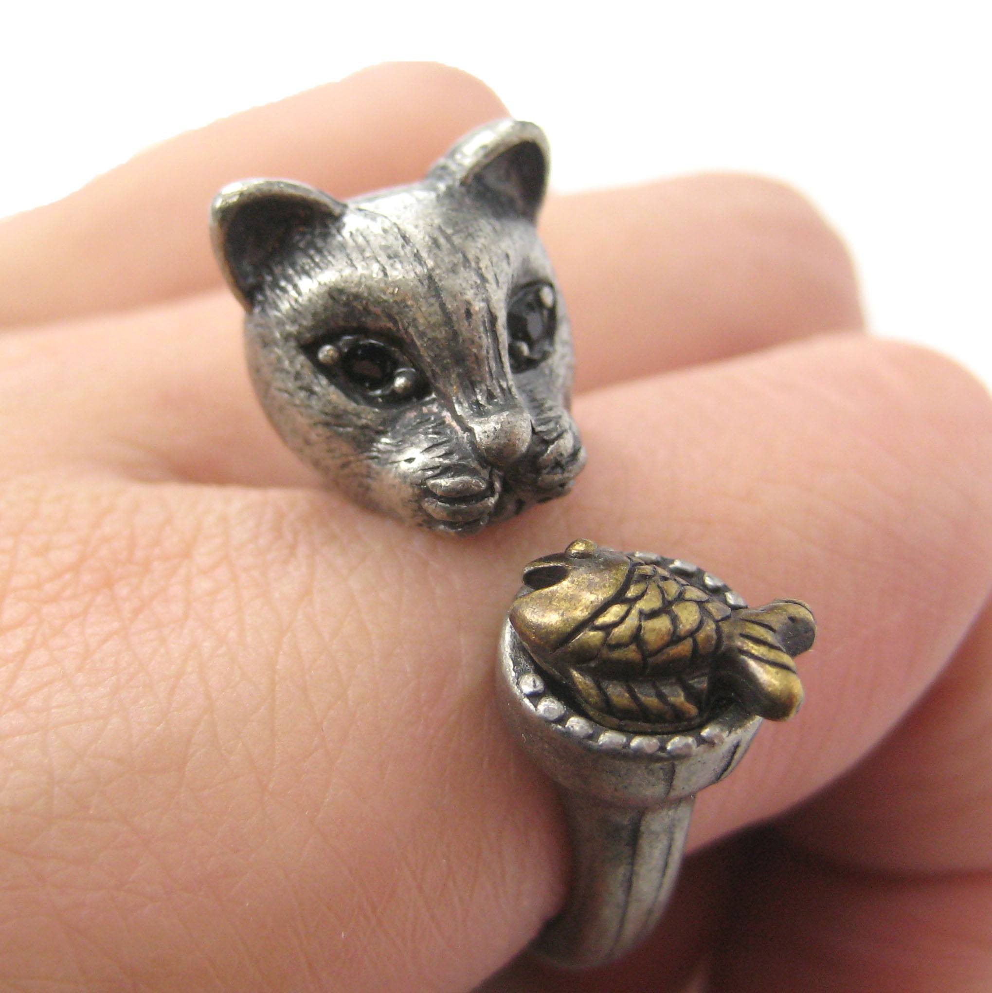 3D Kitty Cat with Fish Animal Wrap Ring in Silver | US Sizes 7 to 11