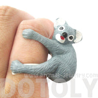 3D Adjustable Koala Bear Figurine Shaped Animal Wrap Ring for Kids
