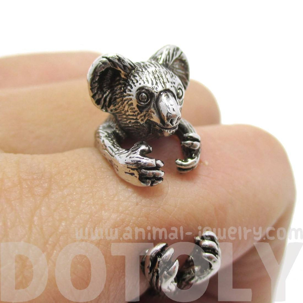 Koala Hugging Your Finger Shaped Ring in Shiny Silver