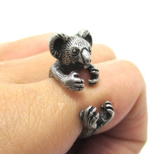 Koala Bear Cuddling Your Finger Shaped Ring in Silver