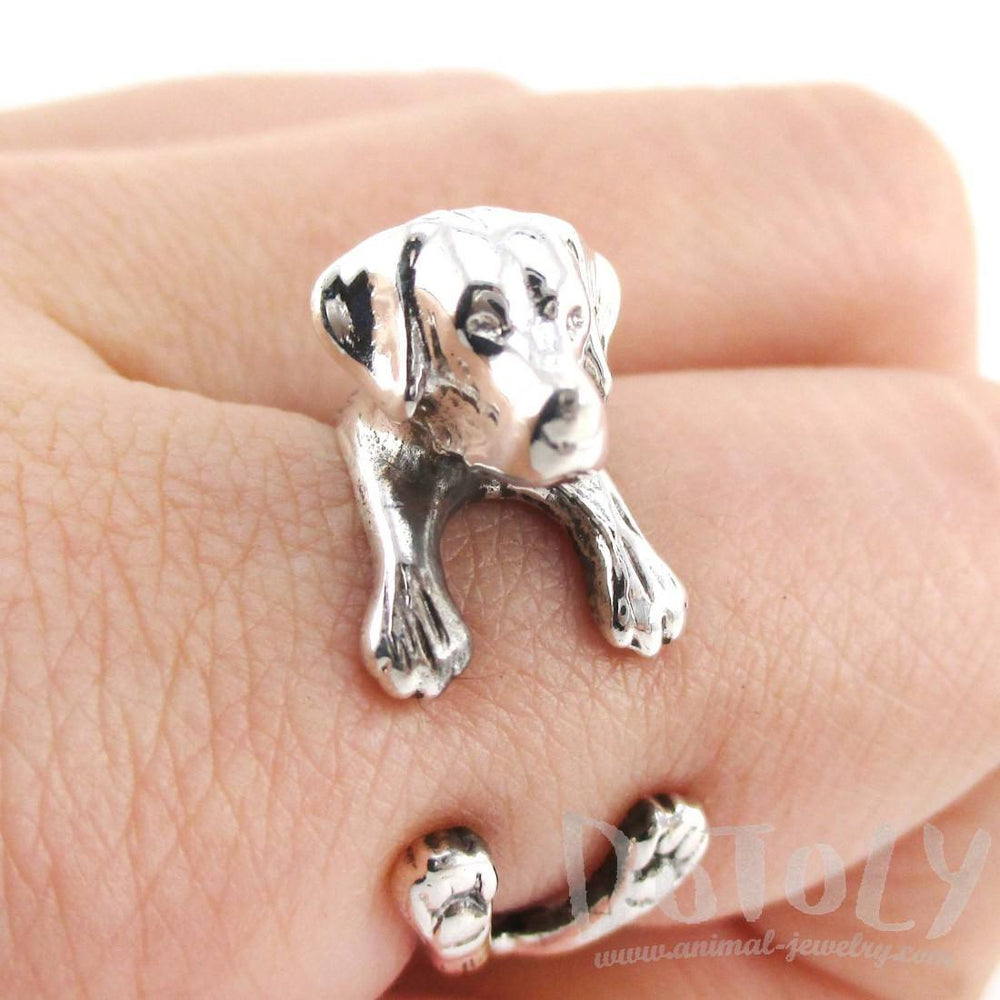 Labrador Retriever Shaped Animal Ring in Sterling Silver