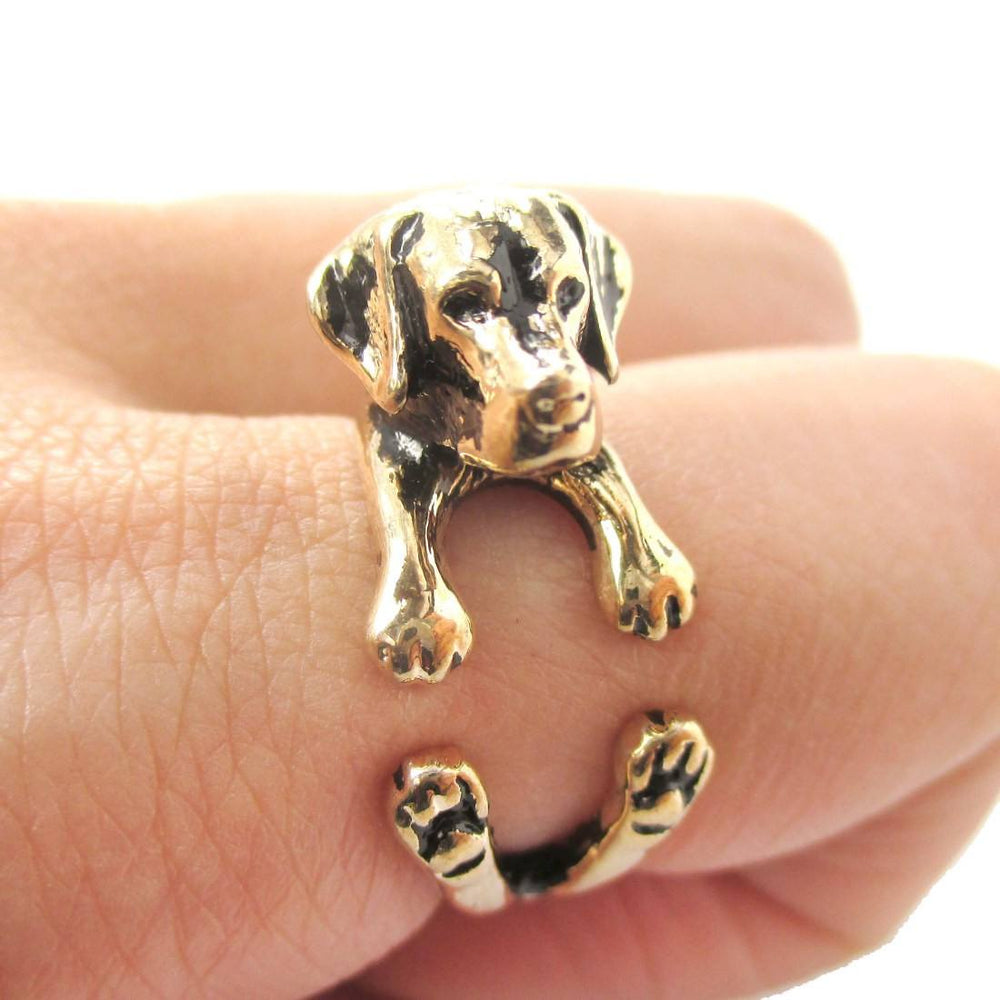 Labrador Retriever Shaped Animal Ring in Shiny Gold